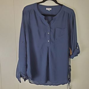 A Pea In The Pod Navy Blue Maternity Blouse Small